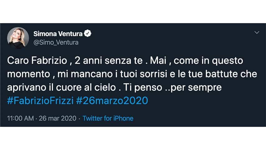 Tweet di Simona Ventura