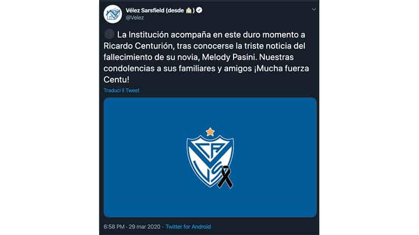 Tweet del Velez per Centurion