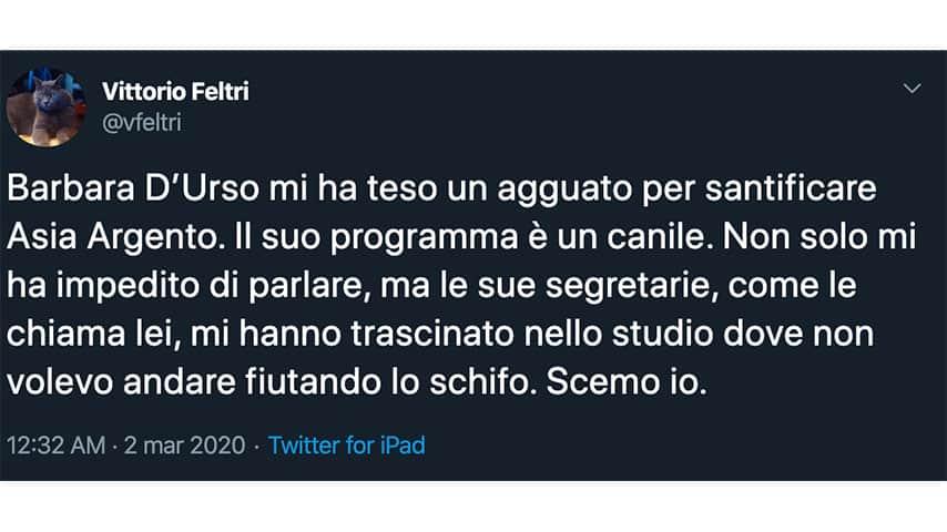Tweet di Vittorio Feltri contro Barbara d'Urso