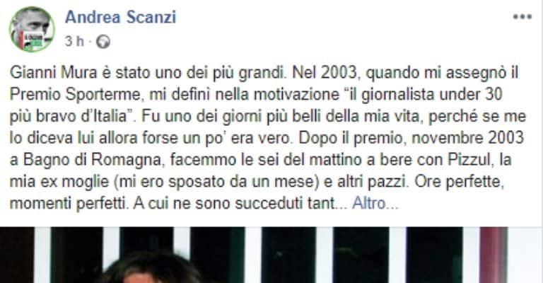 Andrea Scanzi ricorda Gianni Mura, giornalista Repubblica morto