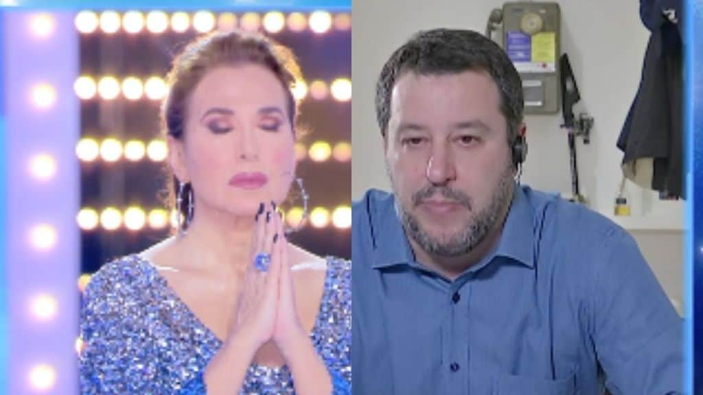 barbara d'urso e matteo salvini che pregano in tv
