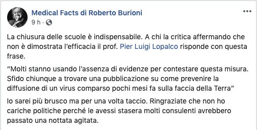 Il messaggio di Burioni su Facebook