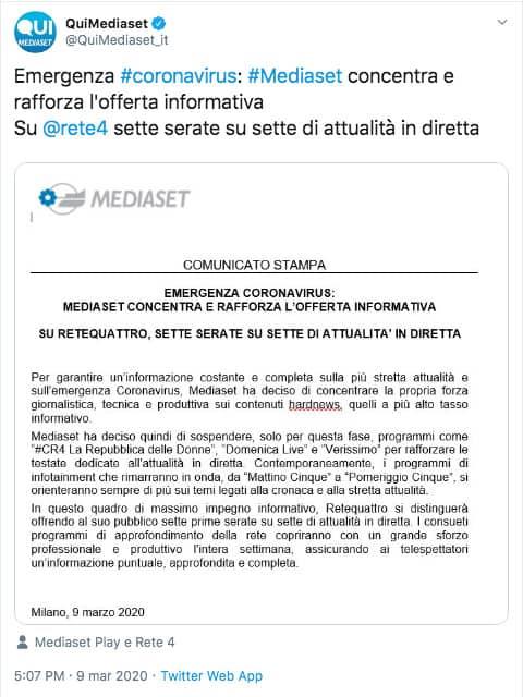 il comunicato pubblicato da Mediaset su Twitter