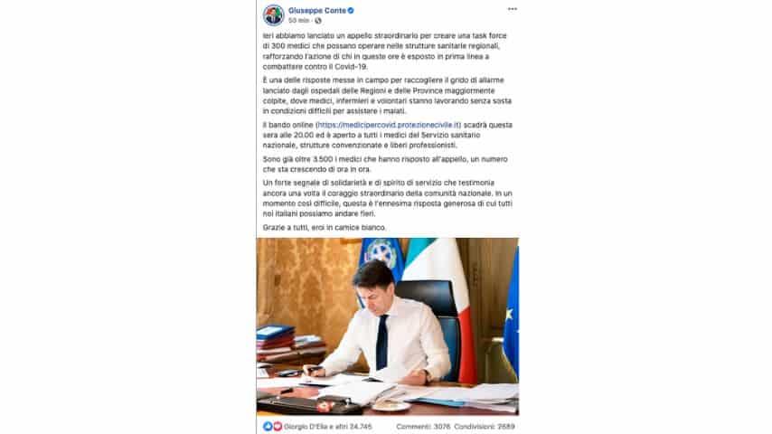 Il post di Giuseppe Conte su Facebook
