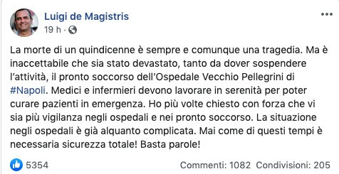 Il post su Facebook di Luigi de Magistris