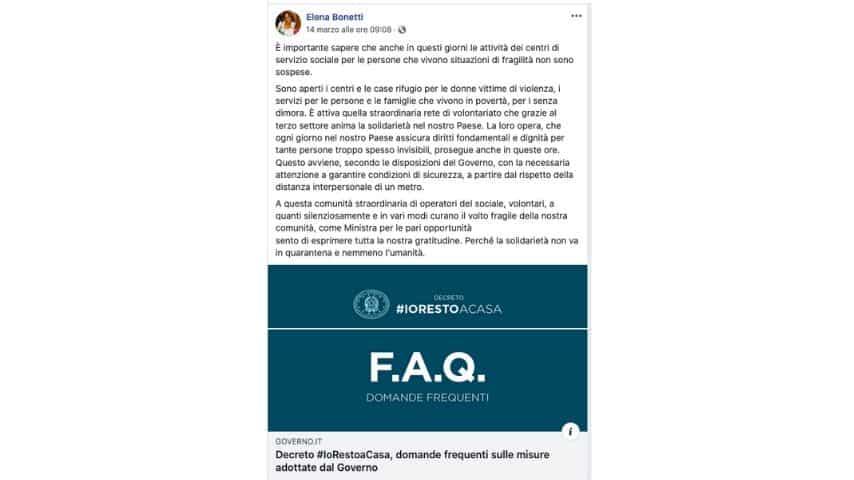 Il post del ministro Bonetti su Facebook