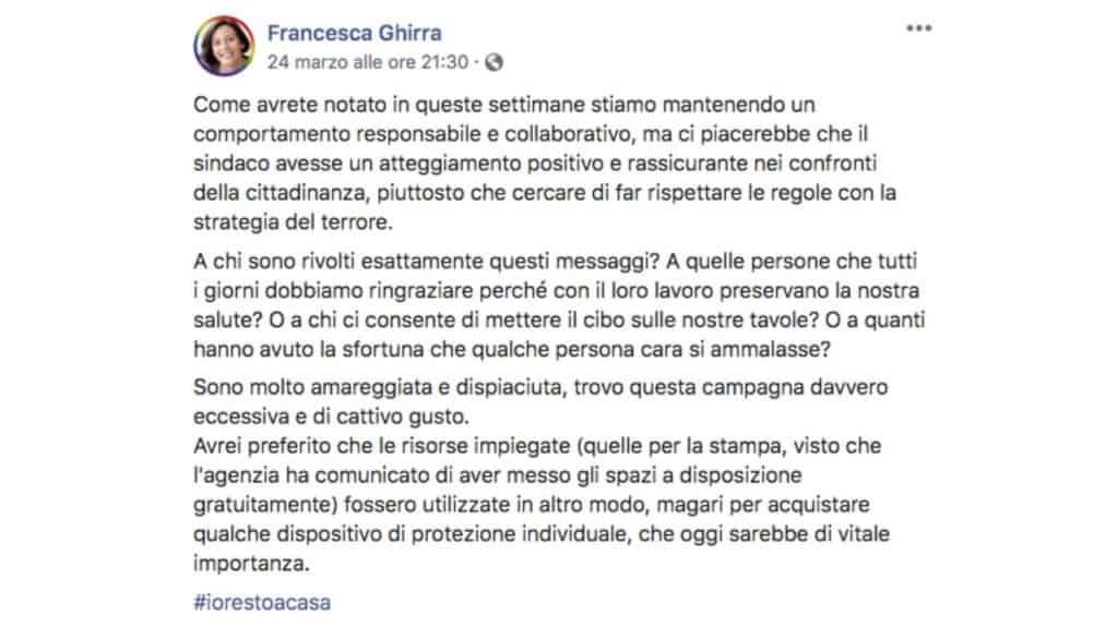 post facebook di Francesca Ghirra