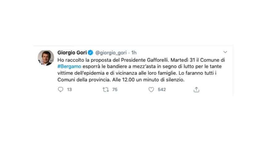 Il tweet di Gori sul minuti di silenzio