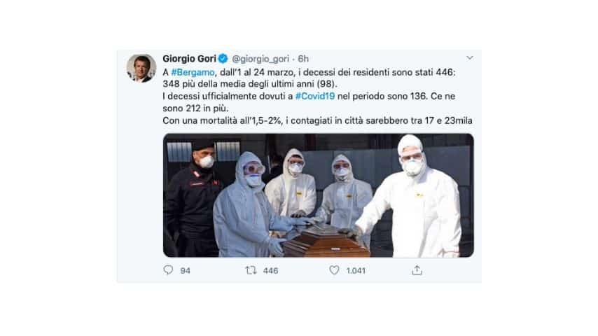Il tweet di Gori sui decessi