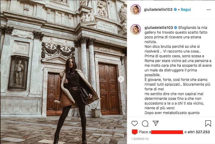 Post Instagram di Giulia de Lellis
