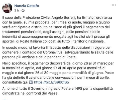 Post facebook del Ministro Catalfo