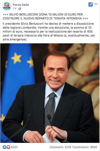 post Facebook di Forza Italia