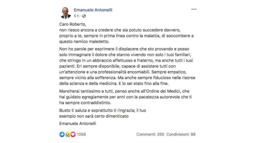 il post Facebook di Emanuele Antonelli