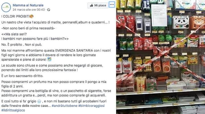 Post facebook sulla vietata vendita di quaderni e matite