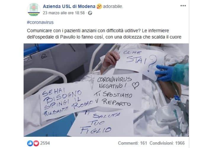 il post su Fcebook dei fogli scritti dalle infermiere