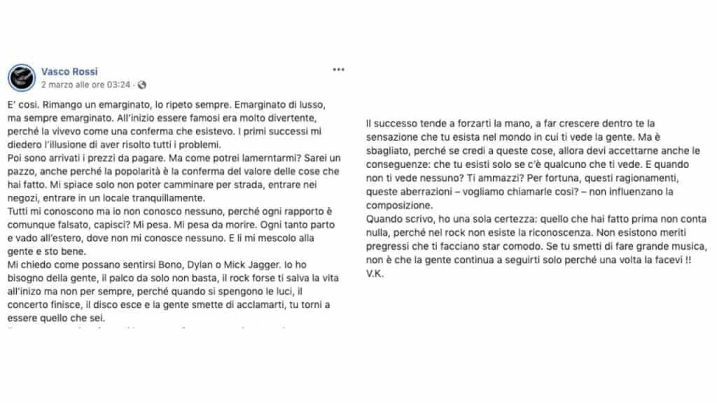 post pubblicato su Instagram da Vasco Rossi