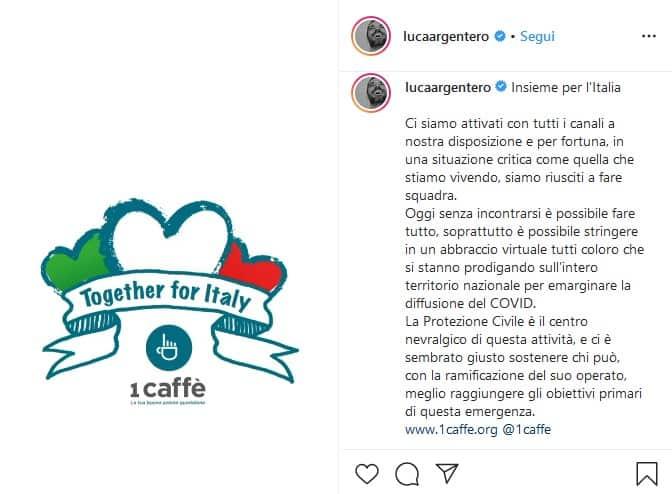 Post Luca Argentero per la raccolta fondi a favore della Protezione Civile