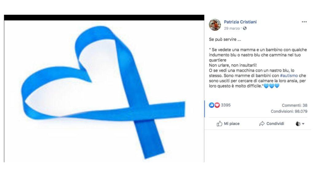 post facebook di Patrizia Cristiani