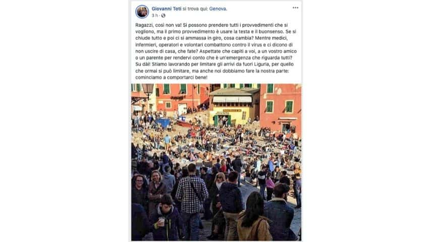 il post su Facebook del governatore Toti