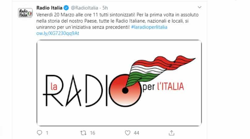 post Twitter di Radio Italia