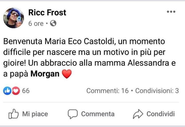il post facebook di Ricc Frost