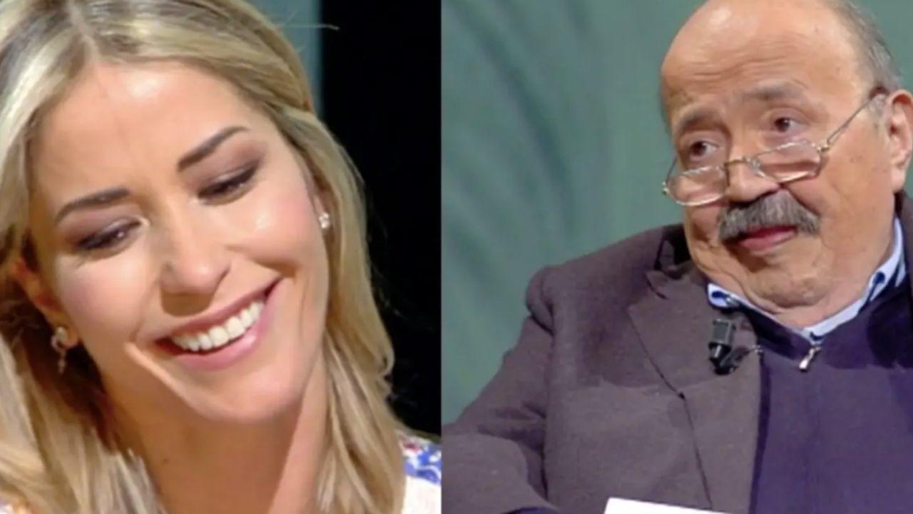 elena santarelli e maurizio costanzo in primo piano nel promo dell'intervista