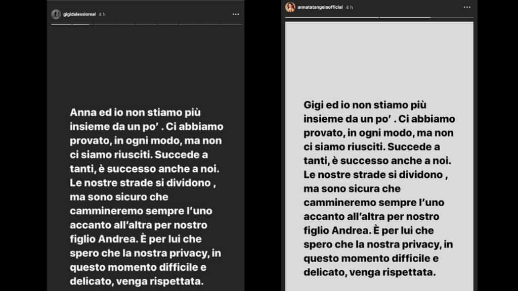 storie instagram pubblicate da Gigi d'Alessio e Anna Tatangelo