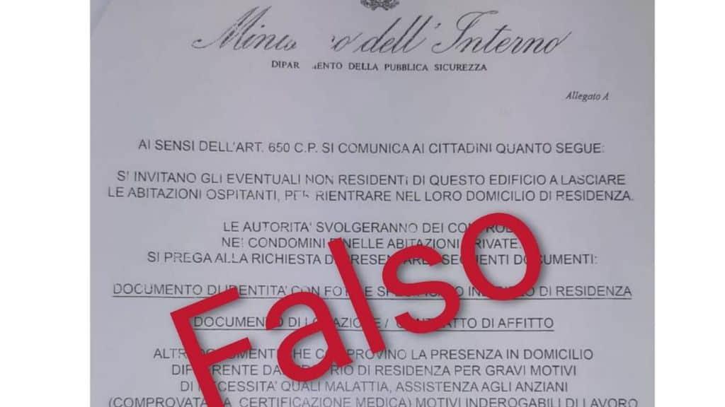 Una nuova truffa al tempo del Coronavirus. Un volantino falso intestato al Ministero dell'Interno che invita a lasciare le proprie case. Segnalazioni da Torino a Napoli (Foto Twitter)