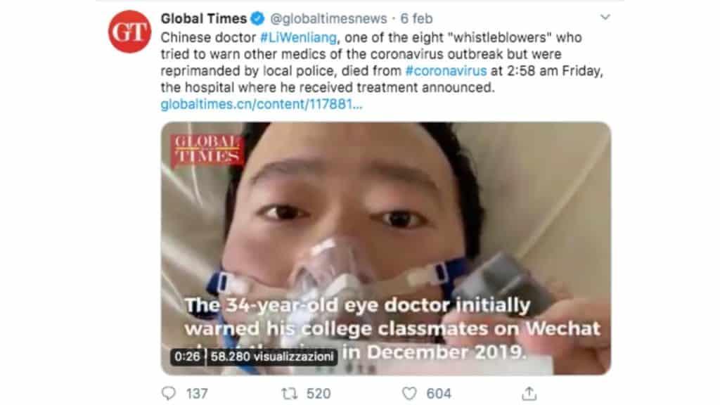 il tweet del global times che annuncia la morte del medico Li Wenliang