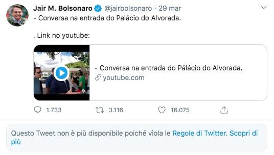 Il profilo twitter di Bolsonaro