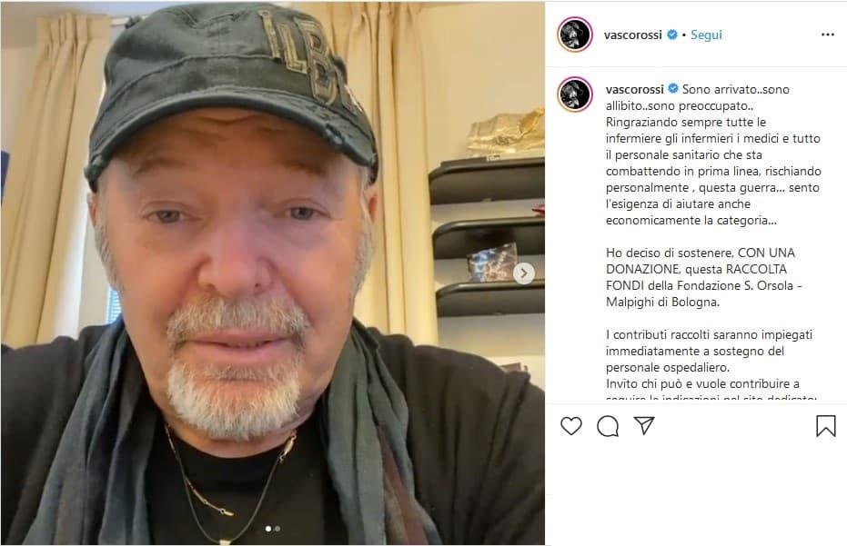 Il post con il videomessaggio postato su Instagram da Vasco