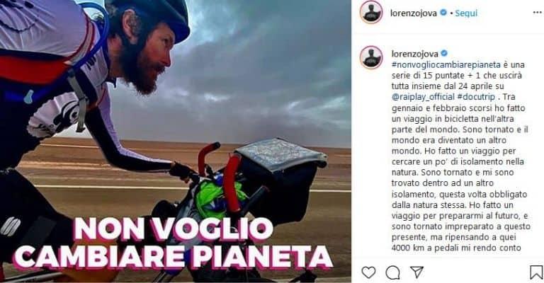 Post Instagram di Jovanotti su Non voglio cambiar pianeta