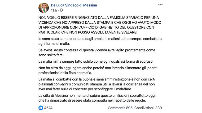 Post di Cateno De Luca su Facebook