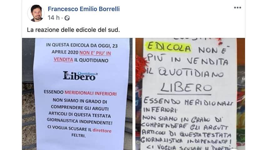 Post di Francesco Emilio Borrelli su Facebook