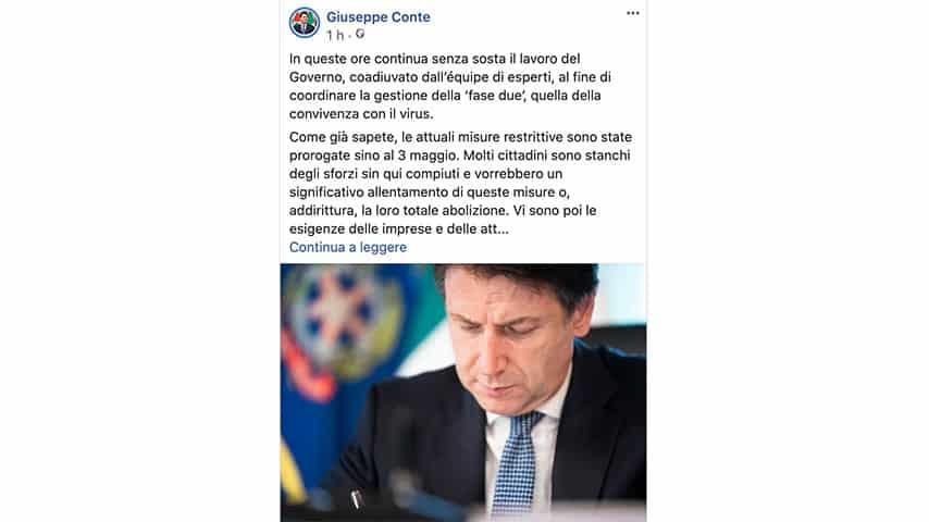Post di Giuseppe Conte su Facebook per riaperture in Italia
