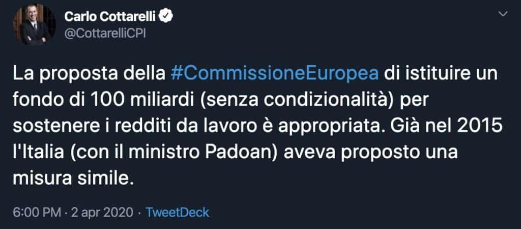 Tweet di Carlo Cottarelli