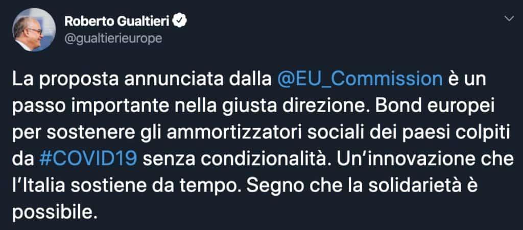 Tweet di Roberto Gualtieri