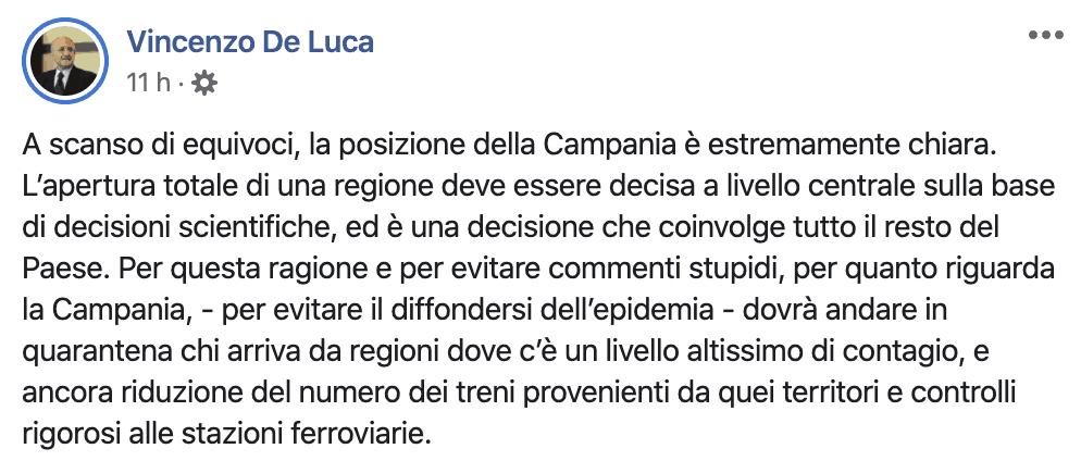 Post su Facebook di Vincenzo De Luca