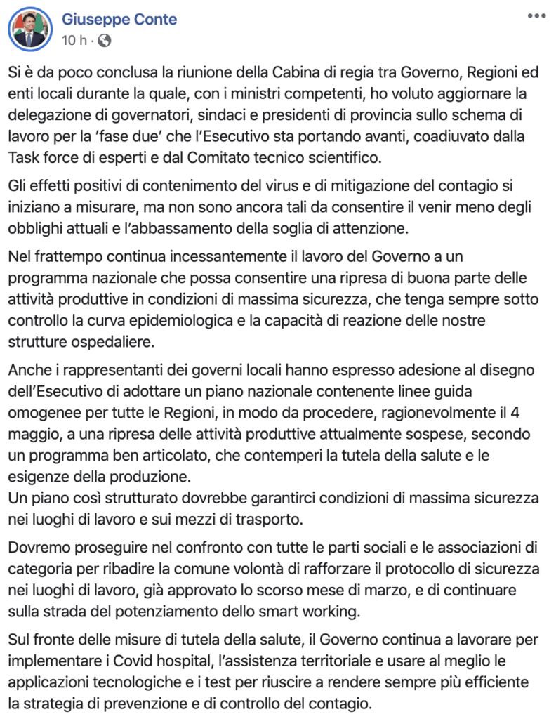 Il post del presidente Giuseppe Conte
