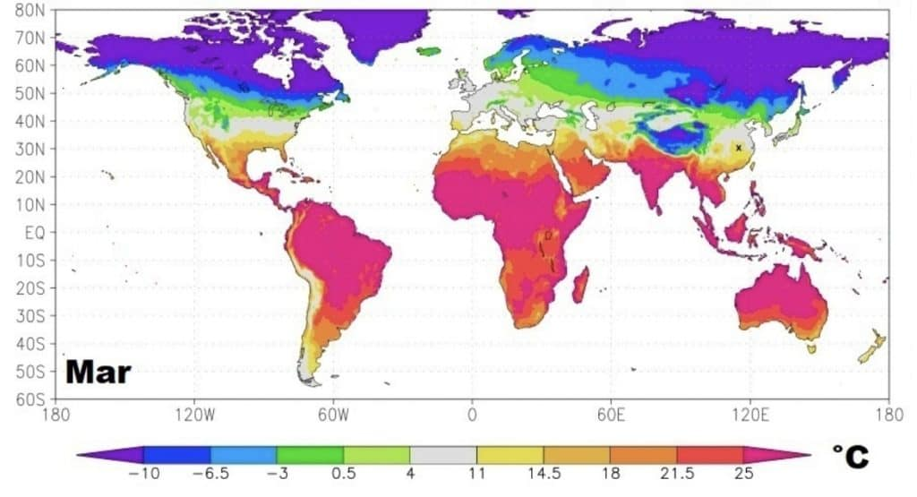 cartina isotermica che mostra il clima nelle varie regioni a marzo