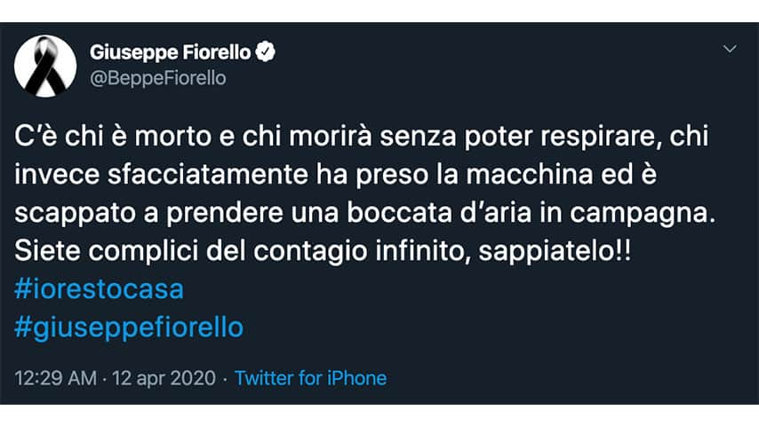 Tweet di Beppe Fiorello