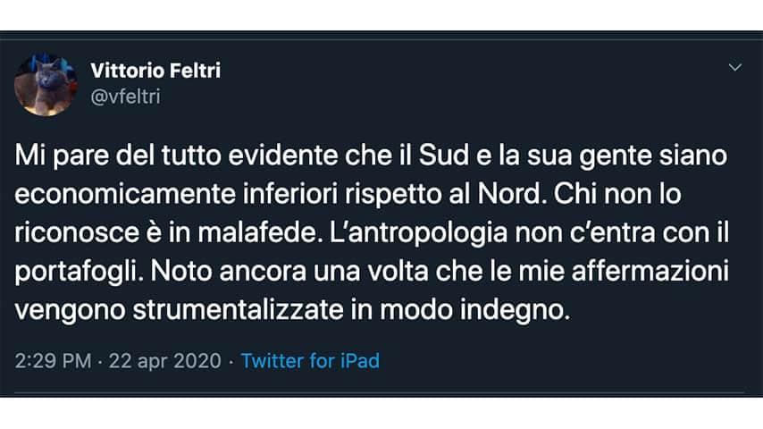 Tweet di Vittorio Feltri