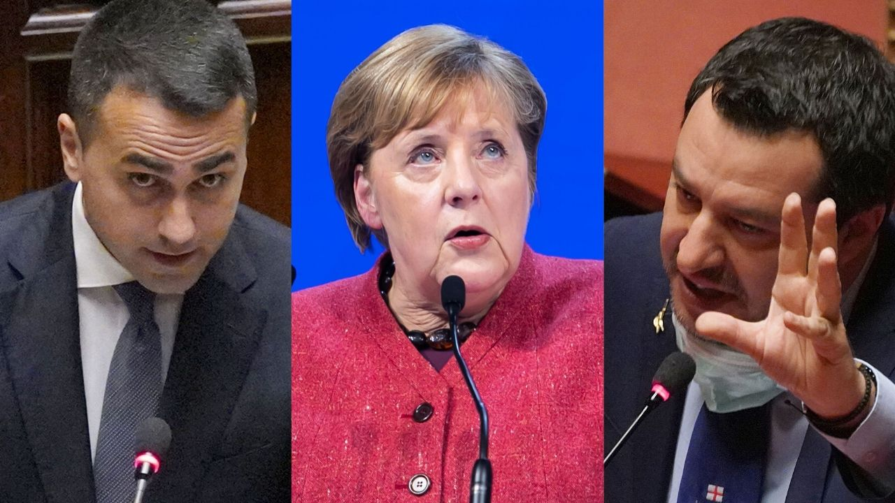 Luigi Di Maio, Angela Merkel e Matteo Salvini