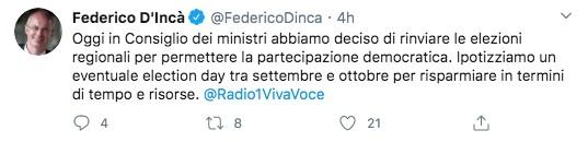 Tweet del Ministro D'Incà