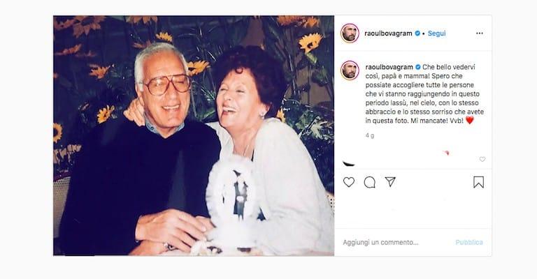 Foto Instagram che ritrae i genitori di Raoul Bova sorridenti e felici con un messaggio di ricordo del figlio