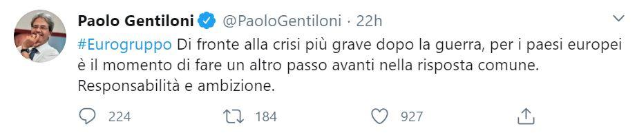 Paolo Gentiloni, il suo messaggio su Twitter