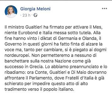 Post di Giorgia Meloni sul Mes