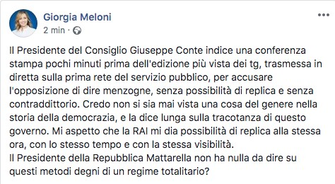 Post di Giorgia Meloni su Facebook
