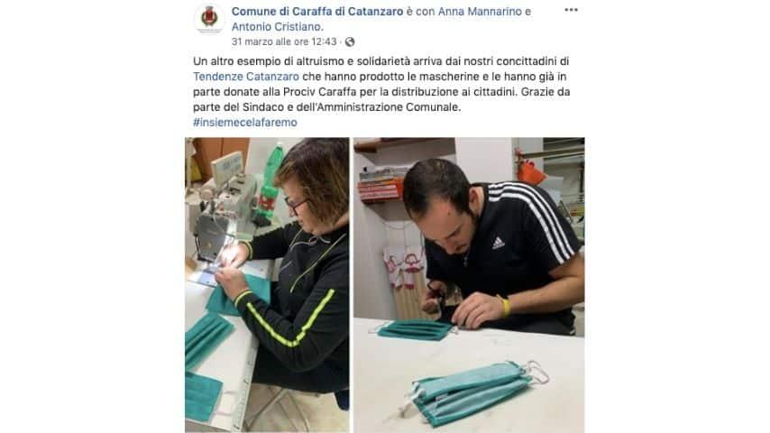La foto di altri 2 professionisti del settore tessile intenti a cucire mascherine pubblicata sulla pagina Facebook del comune di Caraffa di Catanzaro