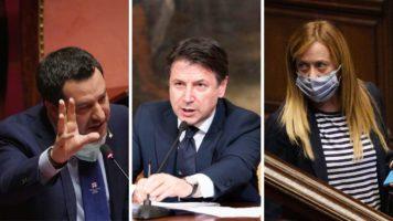 Matteo Salvini, Giuseppe Conte e Giorgia Meloni in primo piano
